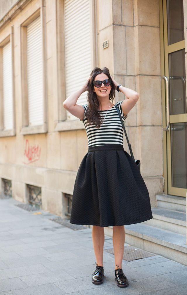 6766fc213 Outfit: Stripes, circle skirt and patent derbies | The Styling ...