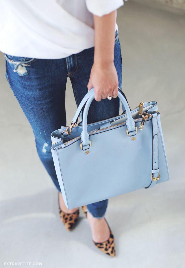 c03e40273 And here is the MK Sutton satchel I got in the pale blue - a very pretty  color in person. I'm a creature of habit and can't stop gravitating towards  this ...