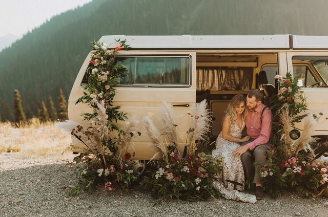 71dbc0ab208 Retro Floral-Filled Elopement Through North Cascades National Park in a  Vintage VW Bus