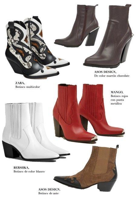 free shipping 9f7ee ecb24 Botín cowboy de piel color combinado de Zara, 119 euros. Botín tacón medio  en color blanco ...