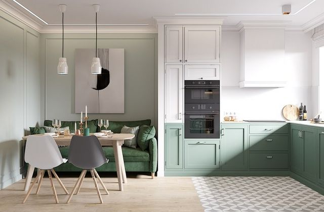 We particularly note the use in the kitchen of a forest green which promises to be a flagship color this year