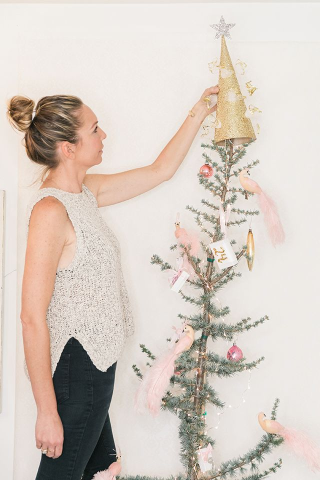 Holiday Special Diy Pink And Gold Glitter Christmas Tree Topper