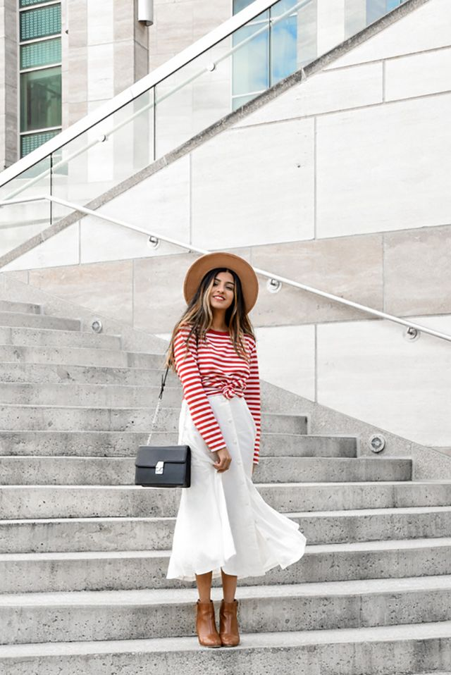 f3ee2e86e3 Save your striped pieces because they ll be in high demand all spring and  summer long. Sushmitha of Miss Minus Sized looks like she s ready for a  cool ...