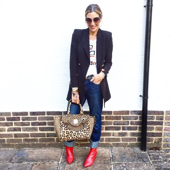 5689809c09c Tee - Isabel Marant Phoebe jeans - MiH. Red boots - Topshop Blazer - Zara  Happy Satchel - Hill & Friends