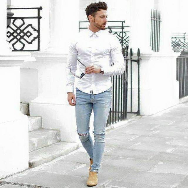 349820f90b9 By including a fashionable blazer and leather boots with blue jeans white  shirt guys can rock this flexible fashion on any event.
