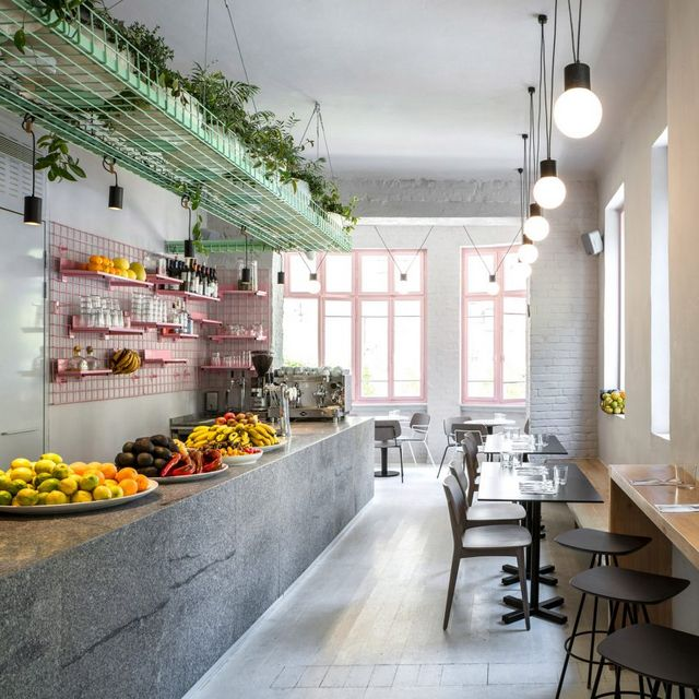 Green Cafe Design: Pale Pink Window Casings Potted Plants And Fresh Produce