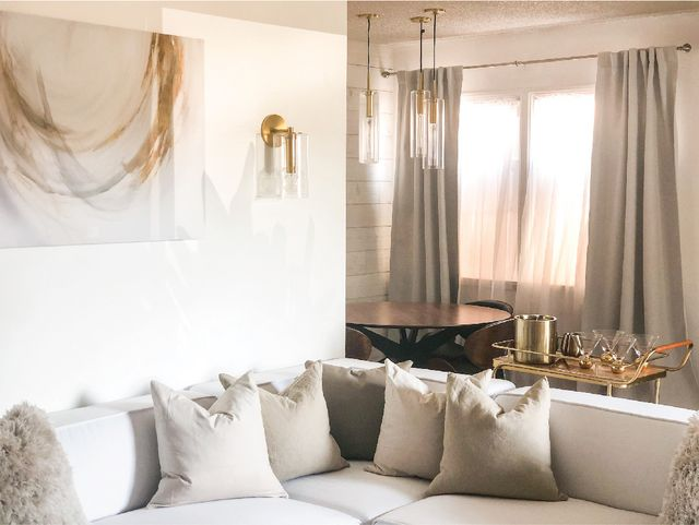 How Ajai Transformed Her Parent S Dark And Cluttered Living Room Into Their Dream Minimalist Mid Century Glam Oasis Emily Henderson Bloglovin